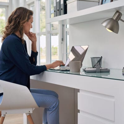 physician working remotely at home